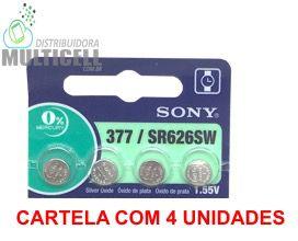 BATERIA CELULA BOTÃO MOEDA SONY 377 G4 326 LR626  LITHIUM 1.55V 100% ORIGINAL CARTELA C/ 4 UND