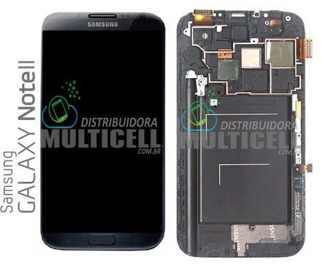 GABINETE FRONTAL SAMSUNG N7100 GALAXY NOTE 2 PRETO CINZA ESCURO ORIGINAL