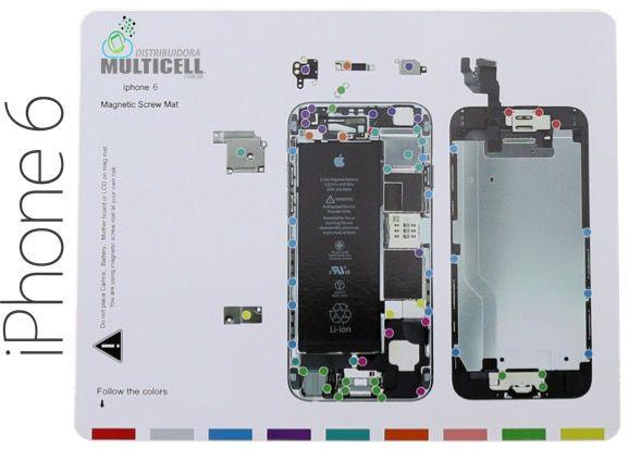 """MAPA GABARITO MAGNÉTICO DE DESMONTAGEM PARAFUSOS IPHONE 6 4.7"""""""