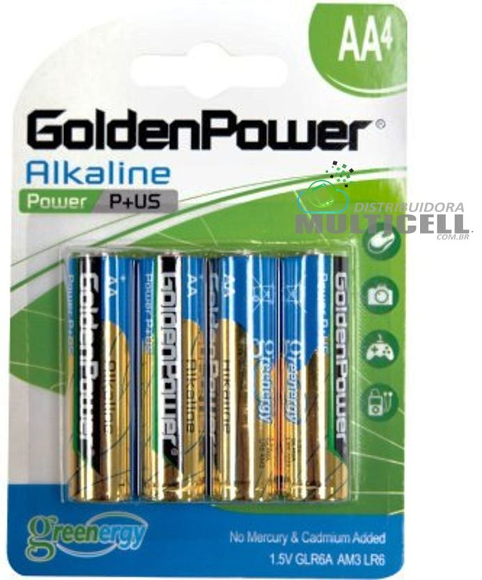 PILHA GOLDEN POWER ALCALINA AA 1.5V LR6 AM3 GLR6A POWER PLUS BLISTER COM 4 PEÇAS
