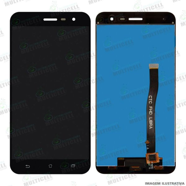 GABINETE FRONTAL DISPLAY LCD MODULO COMPLETO ASUS ZE552KL ZENFONE 3 PRETO 1ªLINHA (QUALIDADE AAA)