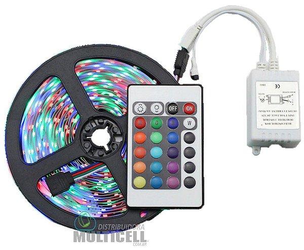 FITA LED RGB COLORIDA COM CONTROLE E RECEPTOR A PROVA D'AGUA ROLO COM 5 METROS + FONTE 12V