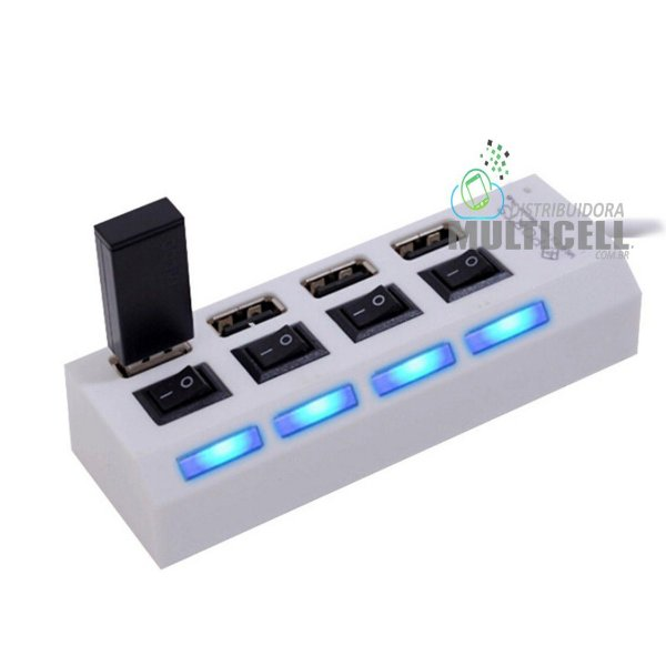HUB USB 2.0 COM 4 PORTAS, CHAVE SELETORA E LED PARA IDENTIFICAÇÃO