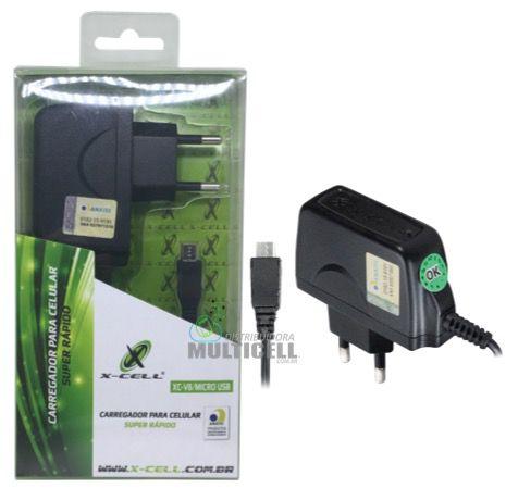 CARREGADOR MICRO USB MODELO GALAXY V8 SUPER RAPIDO HOMOLOGADO ANATEL (X-CELL BLISTER )