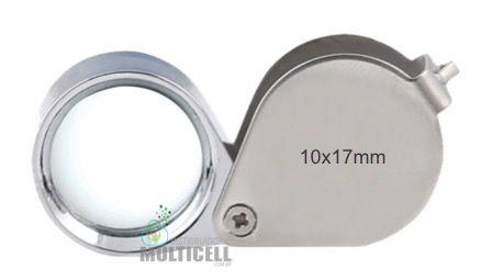 LUPA DE BOLSO DEDO EM AÇO CROMADO HIKARI SOLVER SLD-110 10x17mm