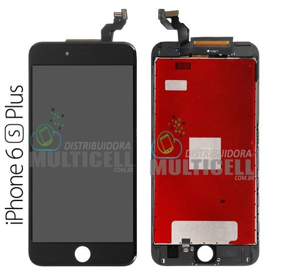 GABINETE FRONTAL DISPLAY LCD TOUCH SCREEN APPLE A1687 IPHONE 6S PLUS PRETO 1ªLINHA QUALIDADE AAA