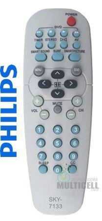 CONTROLE REMOTO PARA TV PHILIPS 14PT218A / 14PT318A / 14PT418A / 14PT518 / 14PT519A SKY-7133 3567 1ªLINHA
