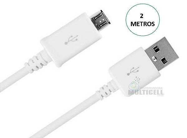 CABO USB ENTRADA V8 MICRO USB BRANCO 2 METROS