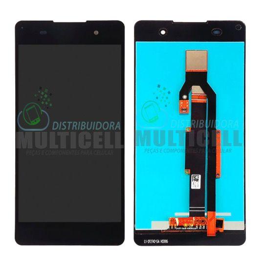 GABINETE FRONTAL MODULO COMPLETO LCD DISPLAY TOUCH SCREEN SONY F3311 F3313 F3315 XPERIA E5 PRETO ORIGINAL