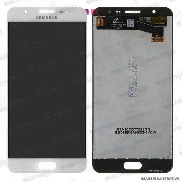 GABINETE FRONTAL DISPLAY LCD MODULO COMPLETO SAMSUNG G610 GALAXY J7 PRIME BRANCO 1ªLINHA QUALIDADE AAA