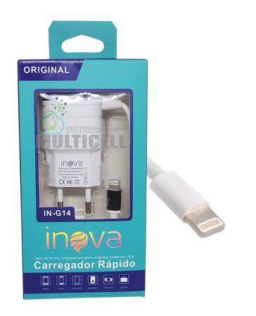 CARREGADOR CASA PAREDE INOVA IN-G14 2.1A APLLE  IPHONE 5 5S 5C 6 6S 7 CARGA RAPIDA COM ENTRADA USB EXTRA