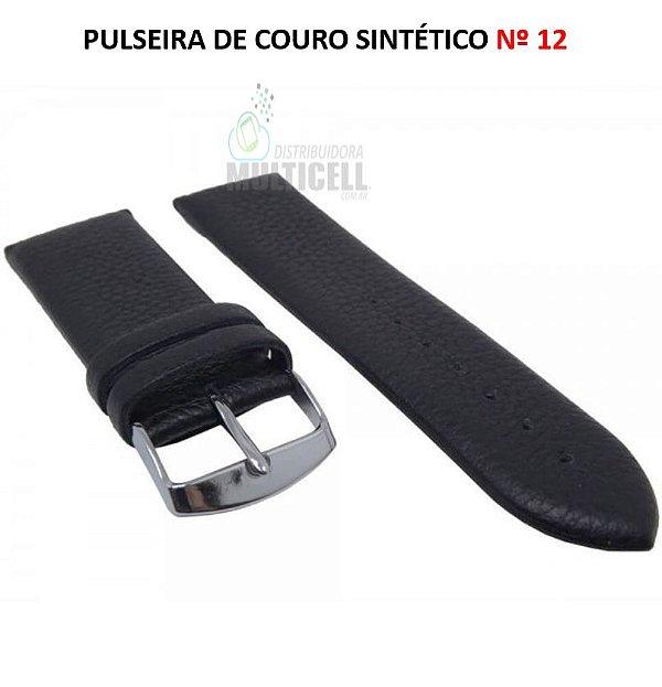 PULSEIRA DE COURO PARA RELÓGIO Nº 12 PRETO