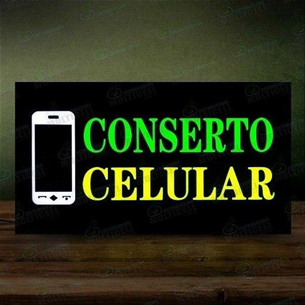 PAINEL DE LED SIGN LETREIRO LUMINOSO ESCRITO CONSERTO CELULAR 42cm X 23cm BIVOLT