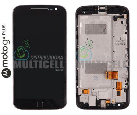 GABINETE FRONTAL TOUCH SCREEN LCD MODULO COMPLETO MOTOROLA XT1640 XT1644 MOTO G4 PLUS PRETO (COM ARO) QUALIDADE AAA