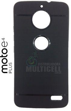 CAPA CASE DE SILICONE TPU TOP BLACK MOTOROLA XT1773 MOTO E4 PLUS PRETA ESCOVADA