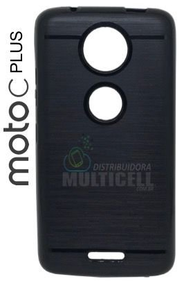 CAPA CASE DE SILICONE TPU TOP BLACK MOTOROLA XT1726 MOTO C PLUS PRETA ESCOVADA
