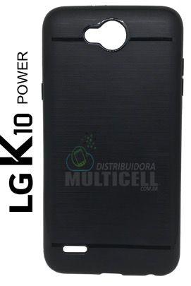 CAPA CASE DE SILICONE TPU TOP BLACK M320 LG K10 POWER PRETA ESCOVADA