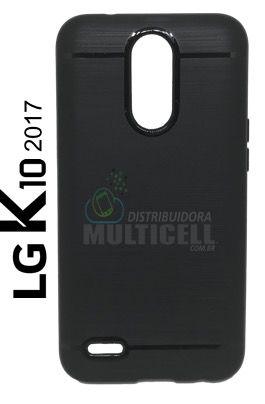 CAPA CASE DE SILICONE TPU TOP BLACK M250 LG K10 2017 PRETA ESCOVADA