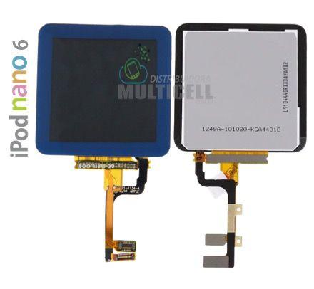GABINETE FRONTAL LCD DISPLAY TOUCH SCREEN MODULO COMPLETO APPLE 821-1134-A IPOD NANO 6 AZUL ORIGINAL
