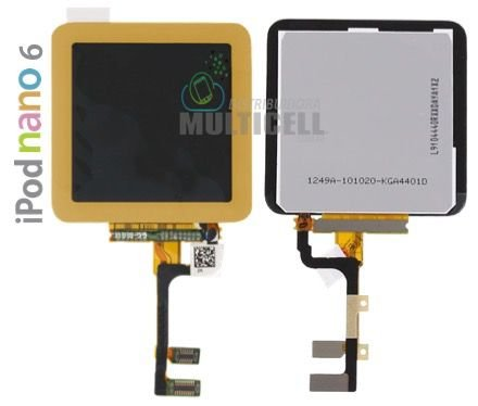GABINETE FRONTAL LCD DISPLAY TOUCH SCREEN MODULO COMPLETO APPLE 821-1134-A IPOD NANO 6 DOURADO GOLD  ORIGINAL