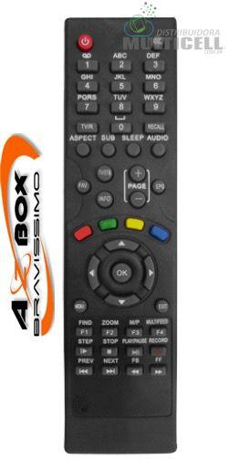CONTROLE REMOTO PARA RECEPTOR DIGITAL AZBOX BRAVISSIMO TWIN FBG-7419 1ªLINHA