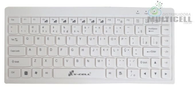 MINI TECLADO SLIM USB COMPATIVEL COM WINDONS E MAC OS X CELL BRANCO