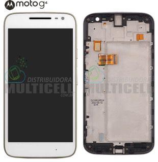 GABINETE FRONTAL LCD DISPLAY MODULO COMPLETO MOTOROLA XT1620 XT1622 XT1625 XT1626 MOTO G4 BRANCO (COM ARO) 1ªLINHA AAA QUALIDADE GOLD