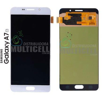 GABINETE FRONTAL LCD DISPLAY TOUCH SCREEN MODULO COMPLETO SAMSUNG A710 GALAXY A7 2016 BRANCO ORIGINAL