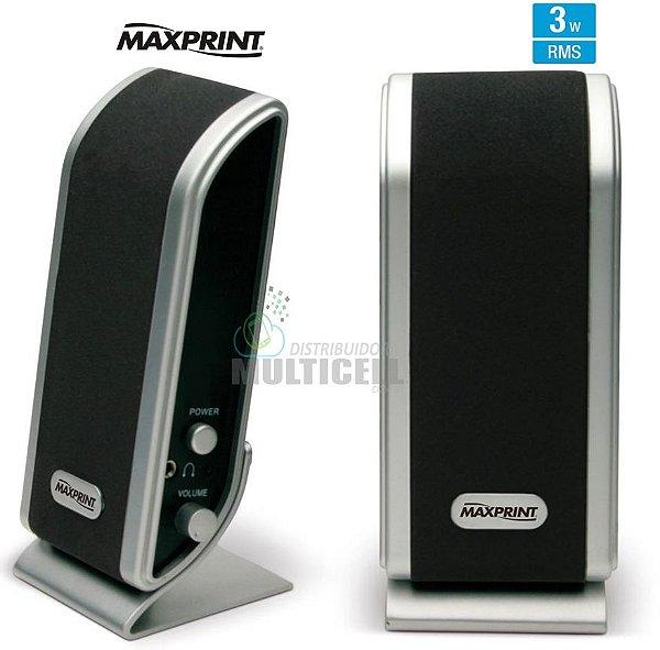 CAIXA DE SOM MULTIMIDIA USB MAXPRINT SLIM 3W RMS PRETO
