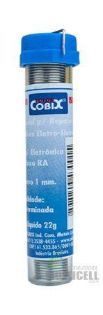 TUBO ESTANHO DE SOLDA COM FLUXO COBIX RA (T2) 22g 1mm