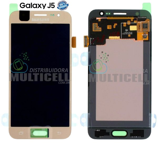 GABINETE FRONTAL LCD DISPLAY TOUCH SCREEN MODULO COMPLETO SAMSUNG J500 GALAXY J5 DOURADO GOLD (100% ORIGINAL NACIONAL)