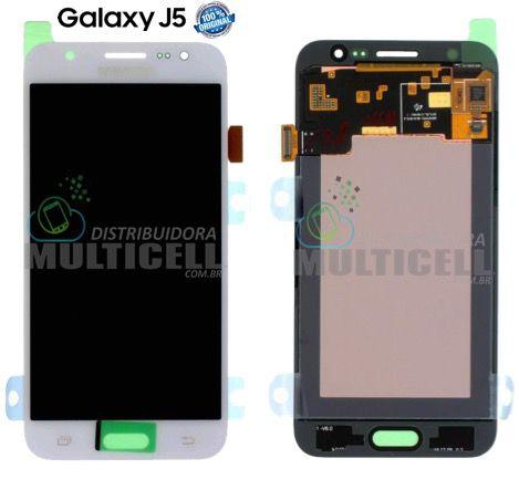 GABINETE FRONTAL LCD DISPLAY TOUCH SCREEN MODULO COMPLETO SAMSUNG J500 GALAXY J5 BRANCO (100% ORIGINAL NACIONAL)