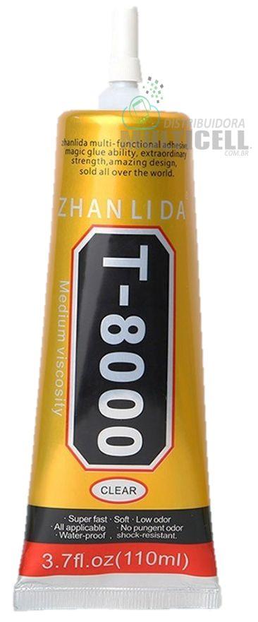 COLA LIQUIDA MULTIUSO TRANSPARENTE T8000 T-8000 PARA COLAGEM E REPARO DE TELA TOUCH SCRENN CELULAR E TABLET 110ML PROFISSIONAL