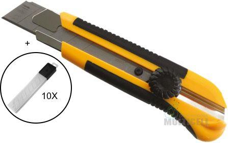 ESTILETE PROFISSIONAL SELLER EX1100 EX-1100 + KIT LAMINA CORPO EMBORRACHADO SNAP-OFF COM TRAVA GIRATÓRIA