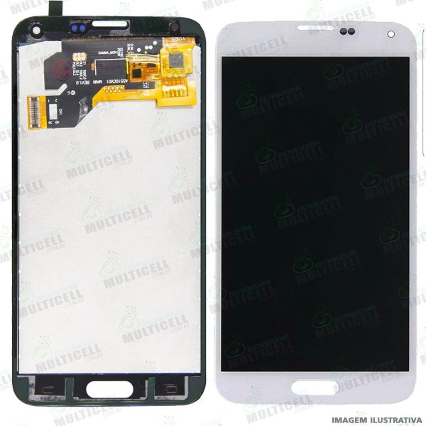 GABINETE FRONTAL LCD DISPLAY TOUCH SCREEN MODULO COMPLETO SAMSUNG G900 GALAXY S5 BRANCO 1ªLINHA (QUALIDADE INCELL)
