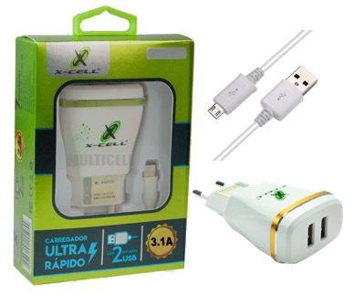 CARREGADOR TURBO ULTRA RAPIDO CASA PAREDE X-CELL 3.1A COM 2 ENTRADA USB EXTRA (ENTRADA V8)