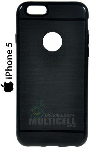 CAPA CASE DE SILICONE TPU TOP BLACK APPLE IPHONE 5 IPHONE 5G PRETA ESCOVADA