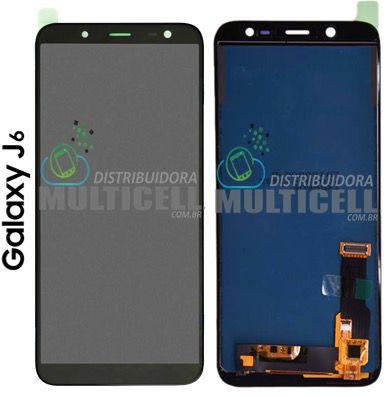 GABINETE FRONTAL LCD TOUCH SCREEN MODULO COMPLETO SAMSUNG J600 GALAXY J6 PRETO 1ª LINHA (COM BRILHO AJUSTAVEL)