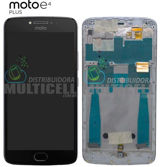 GABINETE FRONTAL MODULO COMPLETO LCD DISPLAY MOTOROLA XT1773 MOTO E4 PLUS PRETO COM ARO ORIGINAL