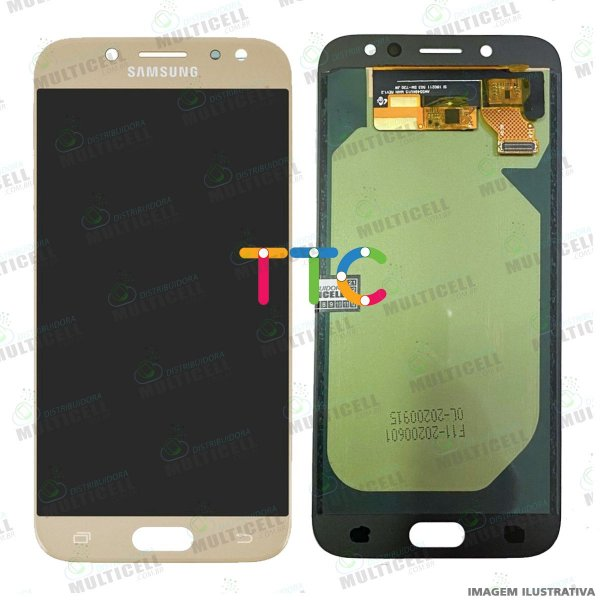 GABINETE FRONTAL DISPLAY LCD MODULO COMPLETO SAMSUNG J730 GALAXY J7 PRO DOURADO 1ª LINHA (QUALIDADE INCELL TTC)