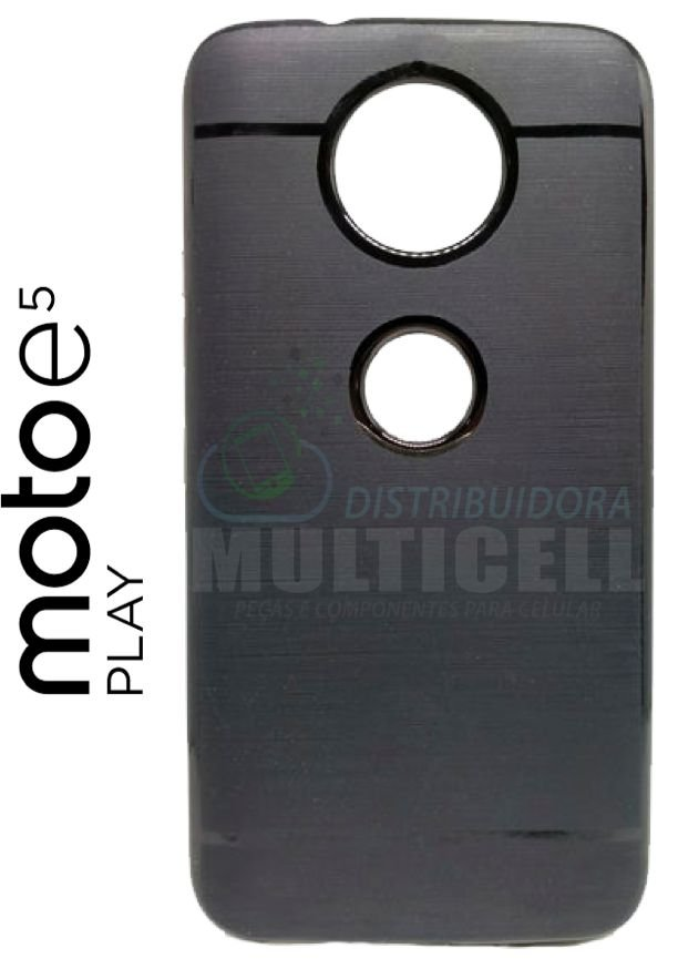 CAPA CASE DE SILICONE TPU TOP BLACK MOTOROLA XT1920 MOTO E5 PLAY PRETA ESCOVADA