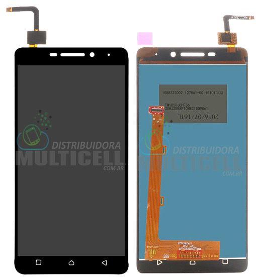 GABINETE FRONTAL LCD DISPLAY TOUCH SCREEN MODULO COMPLETO K33B36 LENOVO VIBE K6 PRETO 1ª LINHA QUALIDADE AAA
