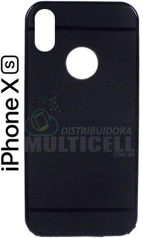 CAPA CASE DE SILICONE TPU TOP BLACK APPLE A1920 A1921 IPHONE X PRETA ESCOVADA