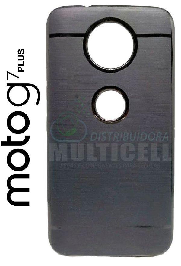 CAPA CASE DE SILICONE TPU TOP BLACK MOTOROLA XT1965 MOTO G7 PLUS PRETA ESCOVADA