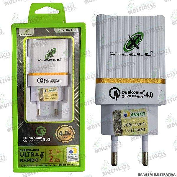 FONTE CARREGADOR TURBO POWER 4.0A 18W QUALCOMM FLEX GOLD HOMOLOGADO (C/ DUAS ENTRADAS USB)