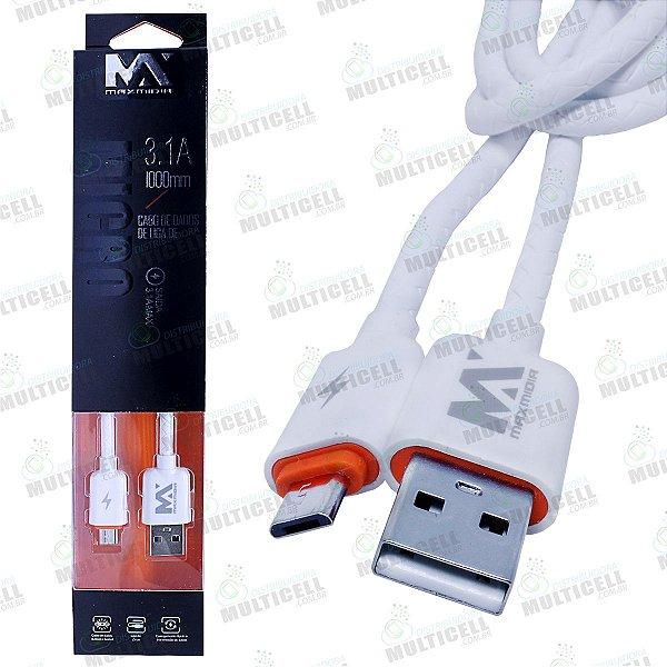 CABO USB TURBO 3.1A MAX MÍDIA MICRO USB V8 BRANCO