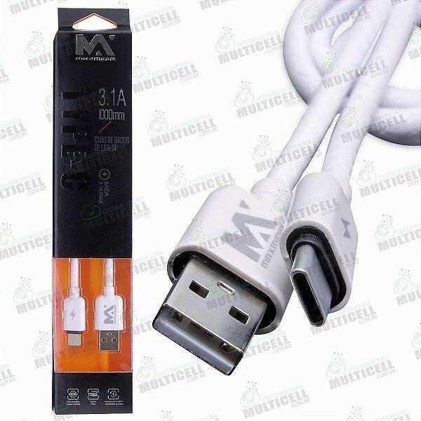 CABO USB TURBO 3.1A MAX MÍDIA TIPO C BRANCO