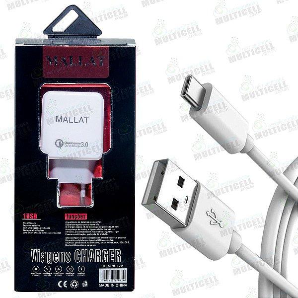 CARREGADOR USB TURBO 3.0 TIPO-C QUALCOMM QUICKCHARGE MALLAT BRANCO (ATIVA A FUNÇÃO TURBO)