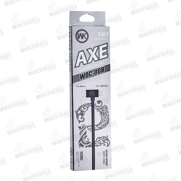 CABO MICRO USB / LIGHTINING AXE WDC-008 2 EM 1 APPLE E V8 PRETO