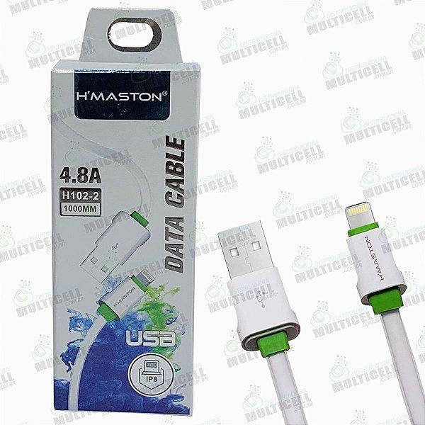 CABO USB H'MASTON 4.8A MODELO LIGHTNING APPLE IPHONE H102-2 ORIGINAL